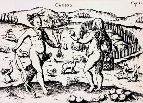 Índios Carijó (Guarani), os habitantes nativos. Gravura de Ulrich Schmidl - 1559